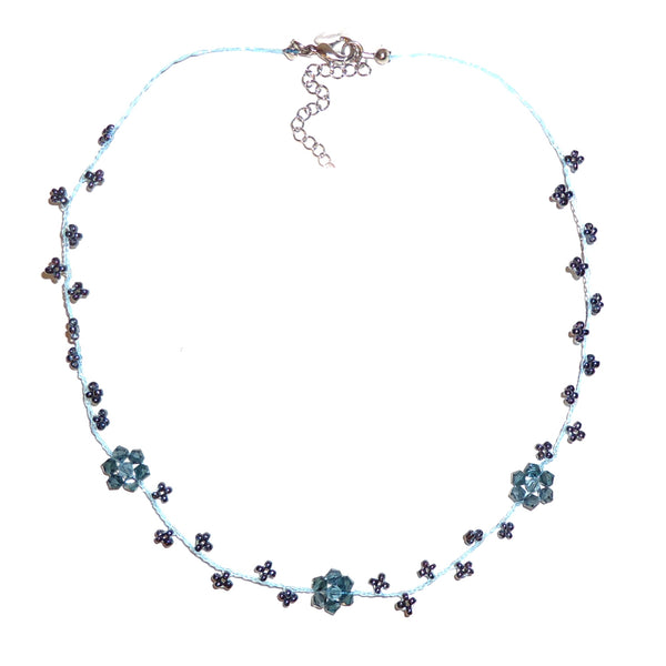 Three Flower Seed Bead Necklace - Denim