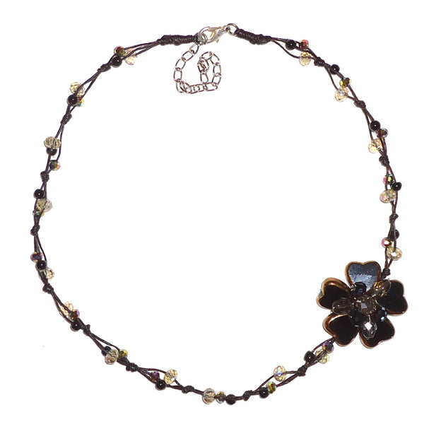 Flower Cluster Necklace - Bronze