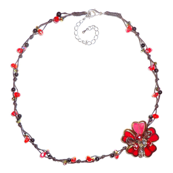 Flower Cluster Necklace - Burgundy
