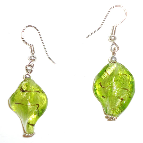 Glass Twist Earrings - Green