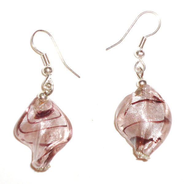 Glass Twist Earrings - Rose