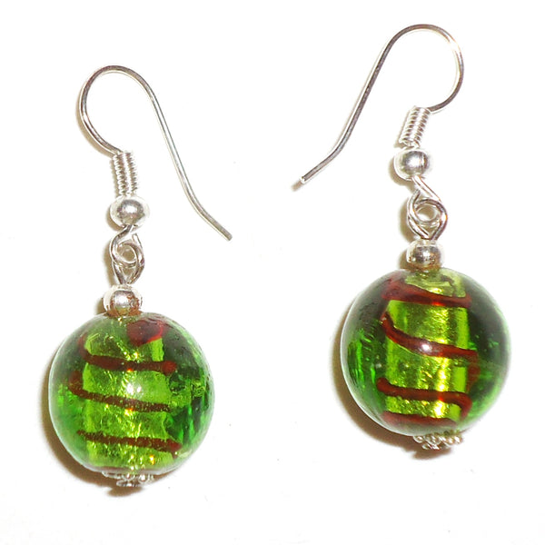 Glass Ball Earrings - Green