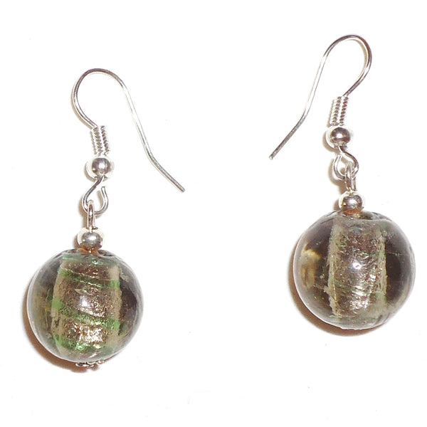 Glass Ball Earrings - Silver