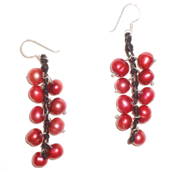 Pearl Cluster Earrings - Red