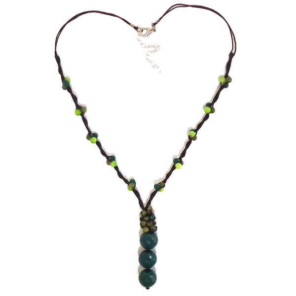 Three Bead Drop Necklace - Green