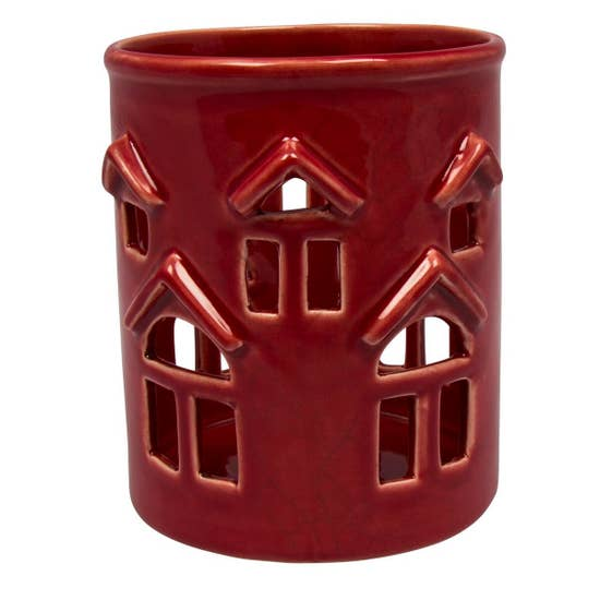 Red Houses Ceramic Candle Holder