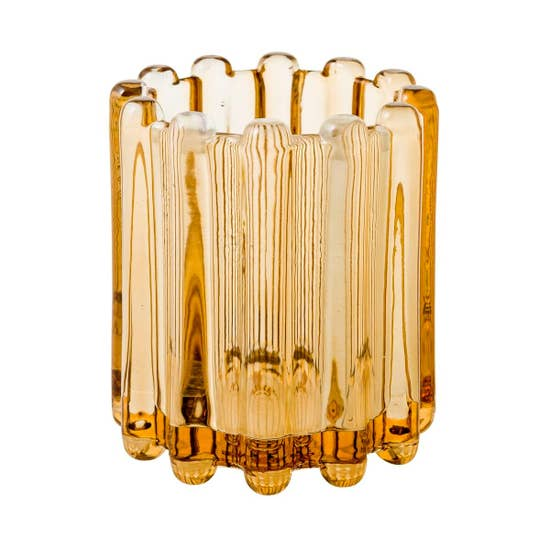 Ribbed Glass Votive - Large Golden