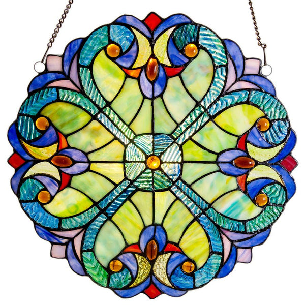 Stained Glass Edwardian Heart Medallion - Green