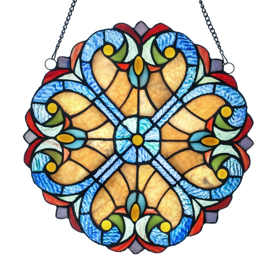 Stained Glass Edwardian Heart Medallion - Red
