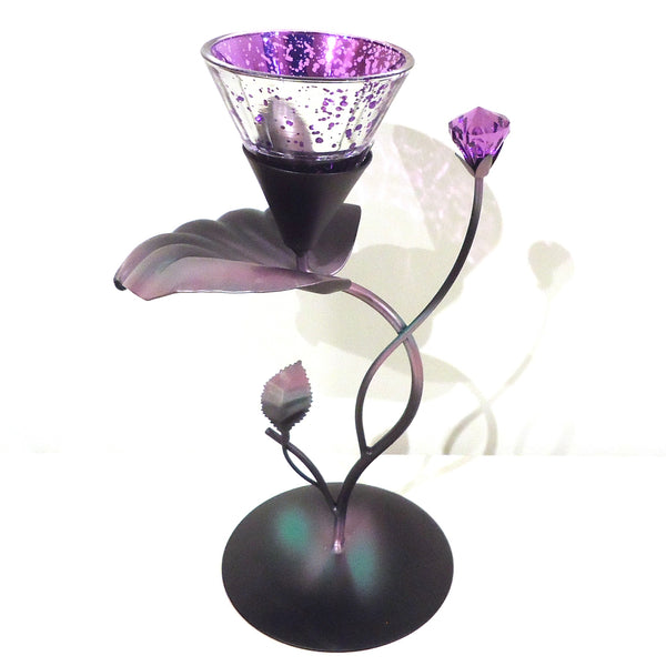Floral Tealight Holder - Purple