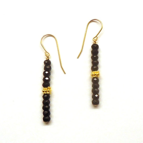Faceted Onyx Stick Earrings