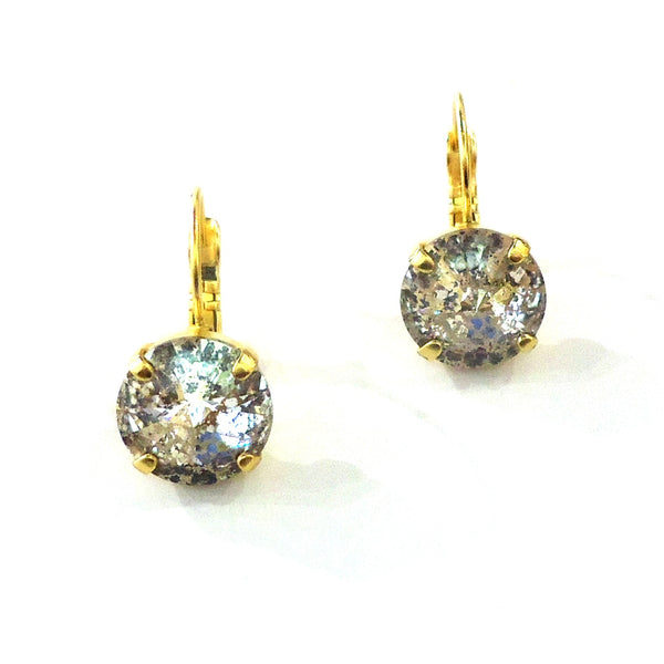 Gold & Crystal Leverback Earrings