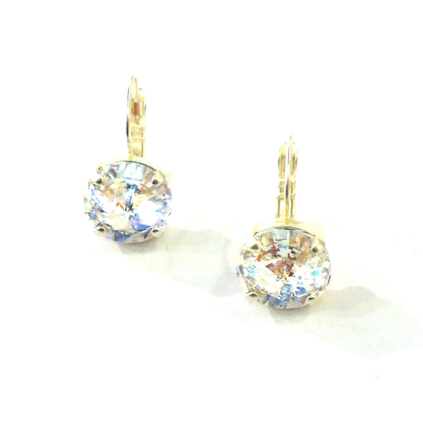 Silver & Crystal Leverback Earrings