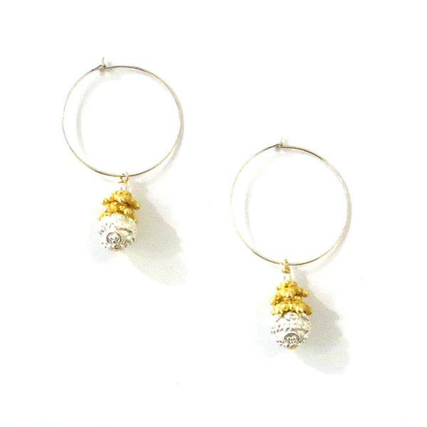 Gold & Silver Drop Earrings