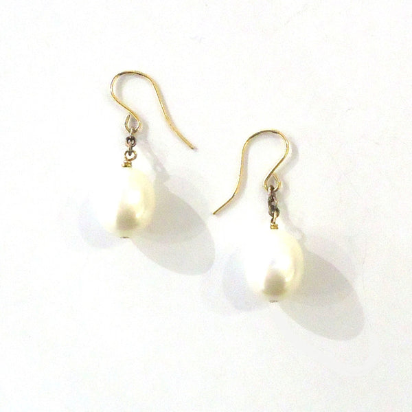 Gold & Oval Pearl Earrings