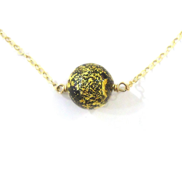 Gold & Murano Glass Bead Necklace