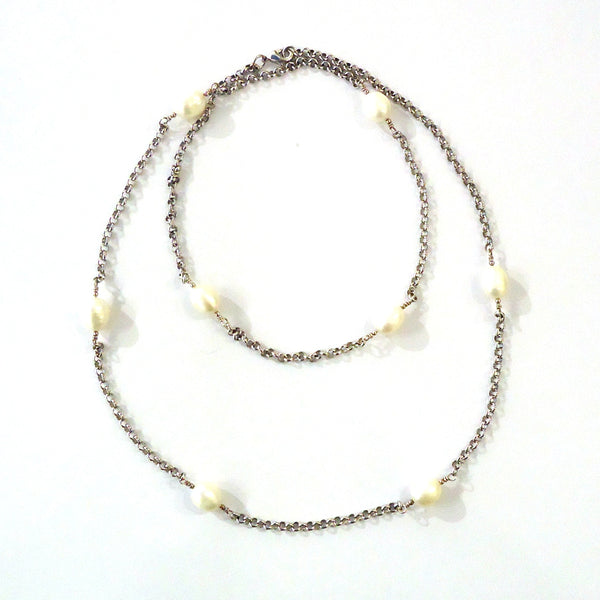 Rhodium & Oval Pearl Necklace