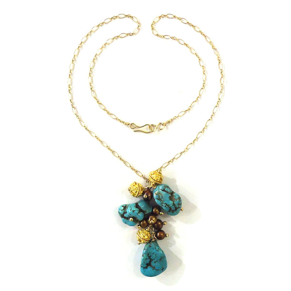 Turquoise & Bronze Pearl Necklace