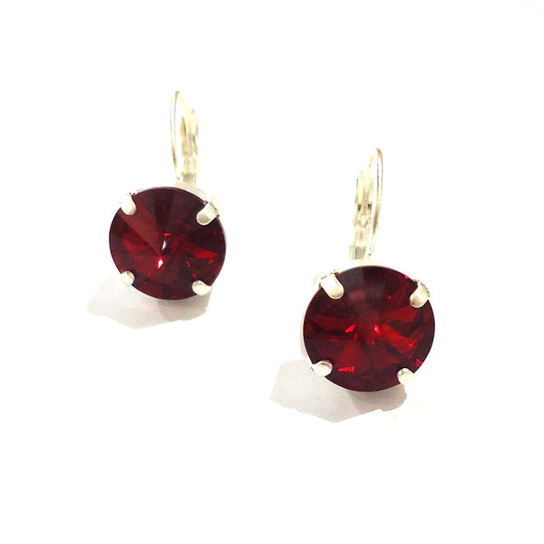 Silver & Red Crystal Leverback Earrings