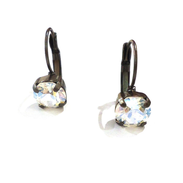 Gunmetal & Crystal Leverback Earrings