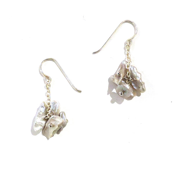 Grey Keshi Pearl & Chain Earrings