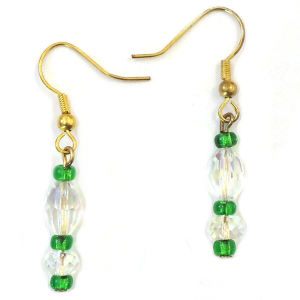 Green & Crystal Bead Earrings