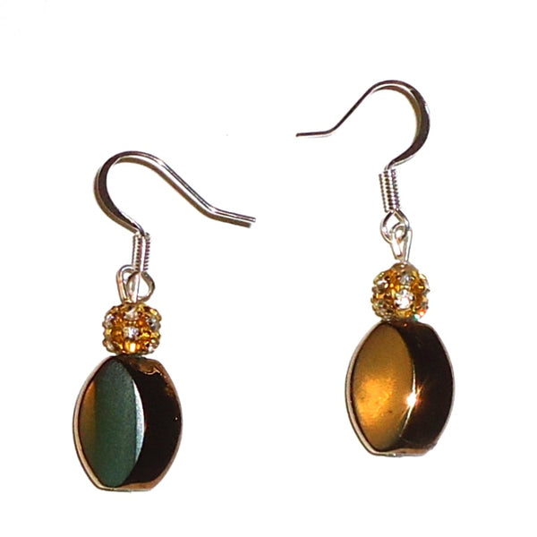 Bronze with Crystal Earrings