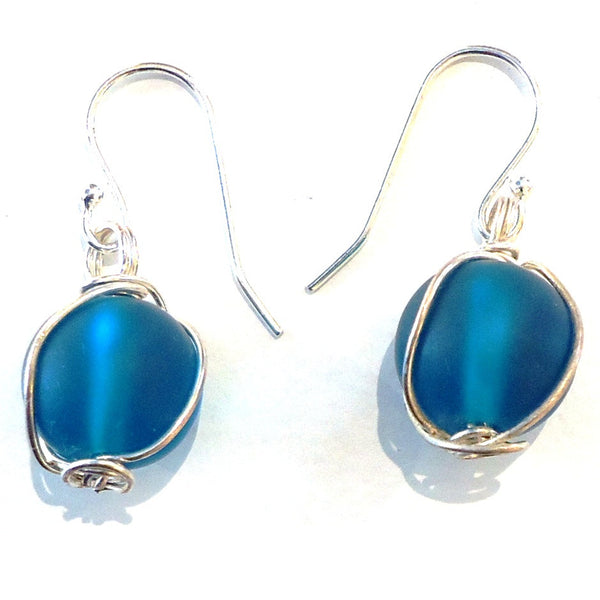 Glass Bead with Sterling Silver Wire Earrings