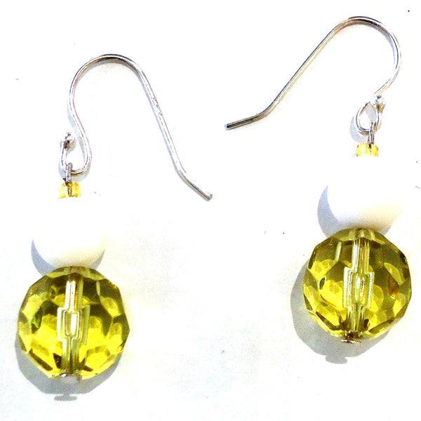 Faceted Yellow Glass Bead Earrings
