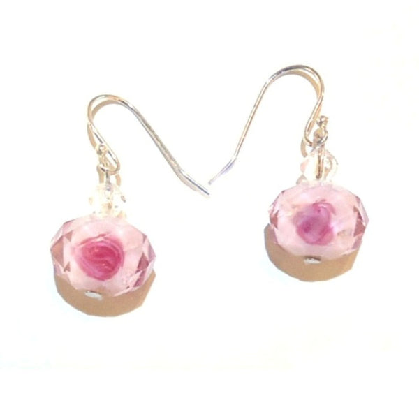 Faceted Rose Bead Earrings