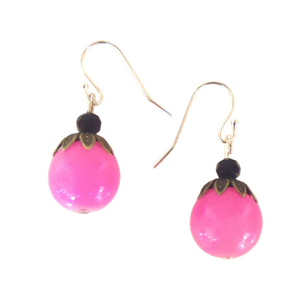 Pink Bead with Brass Earrings