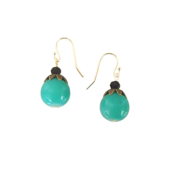 Turquoise Bead with Brass Earrings