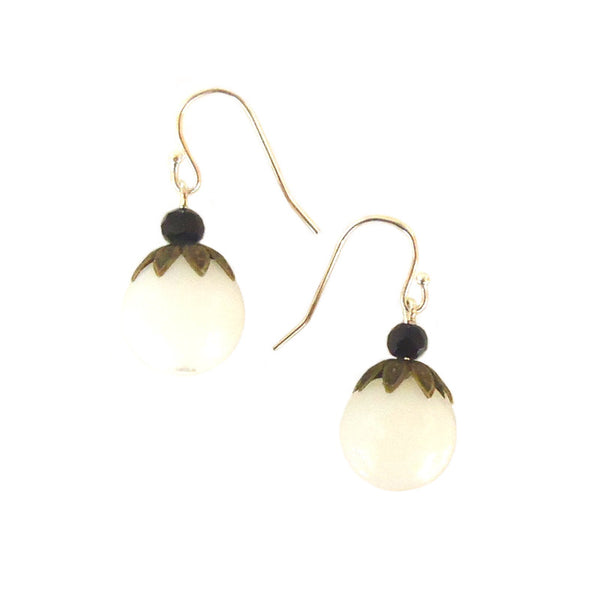 White Bead with Brass Earrings