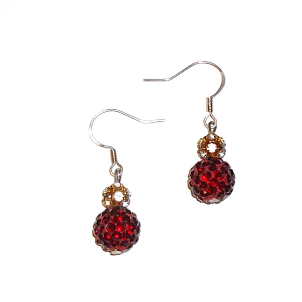 Crystal & Sparkling Red Bead Earrings