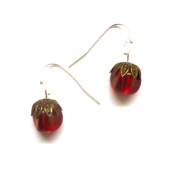 Crimson Bead with Brass Earrings