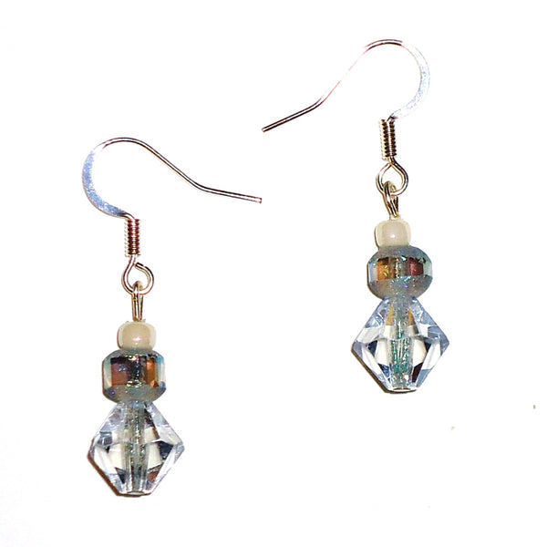 Pale Blue Faceted Bead Earrings