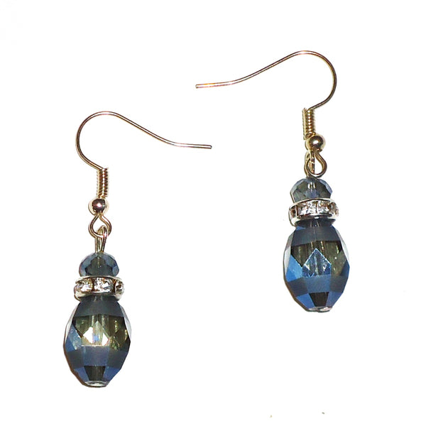 Faceted Smoky Gray Crystal Earrings