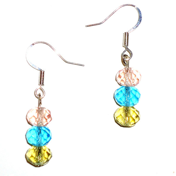 Tri Crystal Bead Earrings