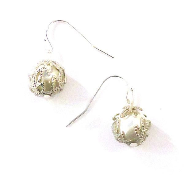 Pearl Bead with Silver Earrings