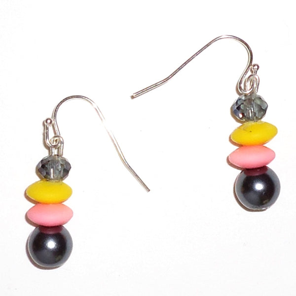 Yellow, Pink & Gray Earrings