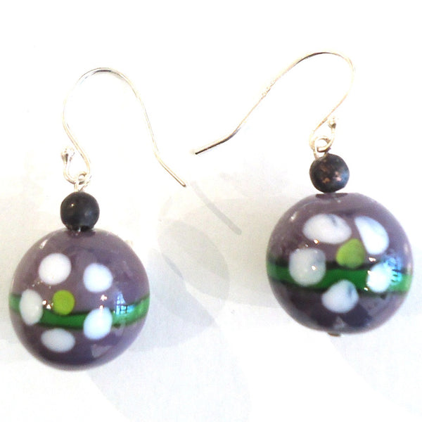 Purple Glass Bead Earrings with Daisy