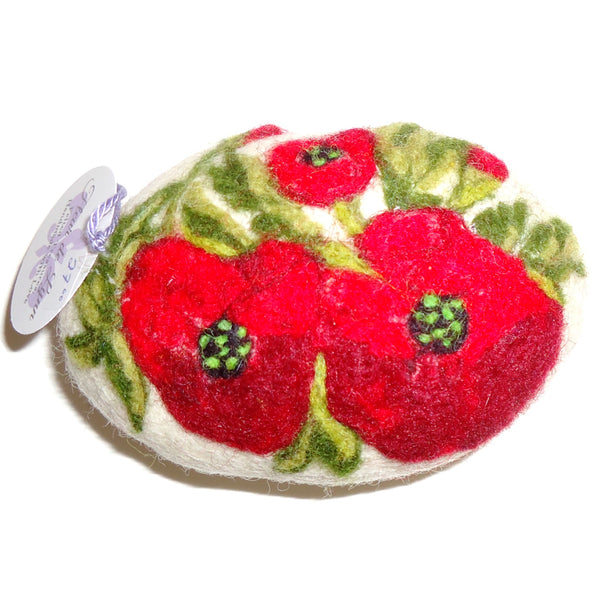 Felted Soap, Red Flowers