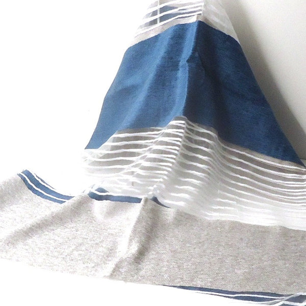 Lace Stripe Scarf, Blue