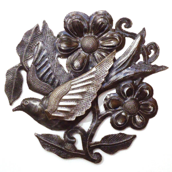 Haitian Metal Wall Sculpture: Dove and Flowers
