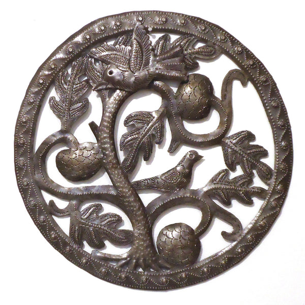 Haitian Metal Wall Sculpture: Birds with Tree