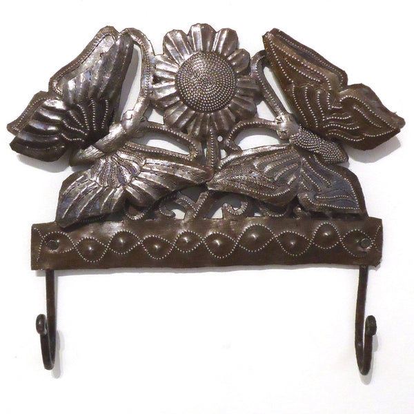 Haitian Metal Wall Sculpture: Butterfly Hook