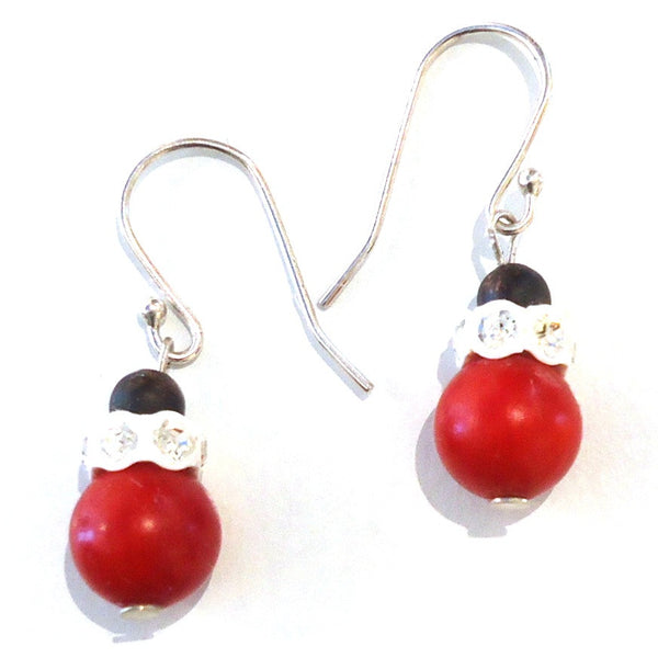 Red Coral Bead Earrings with Crystal Accent