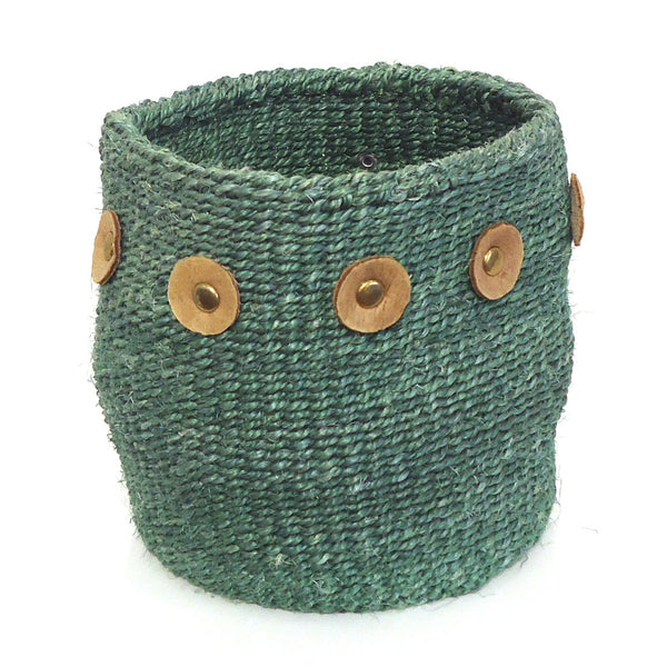 Sisal Cylinder Basket, Small Green