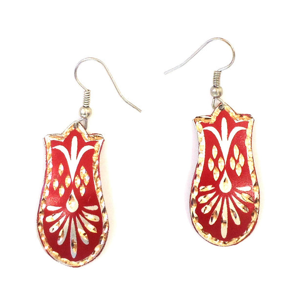 Copper Earrings, Red