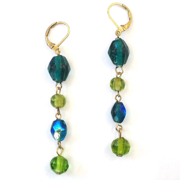 Glass Bead with Brass Earrings